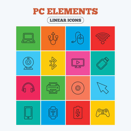 usb port: Computer elements icons. Notebook, usb port and smartphone. Printer, smart watch and game console joystick. Bluetooth, flash stick and cursor pointer. Linear icons in colored squares.