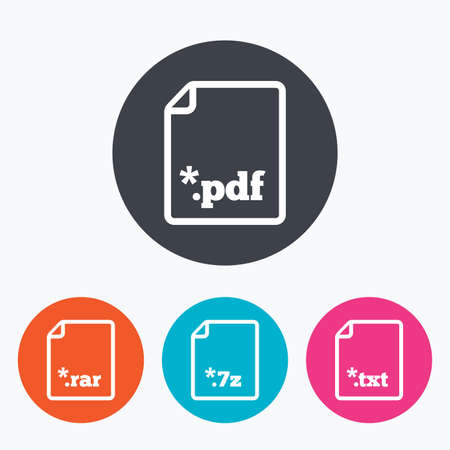 extensions: Download document icons. File extensions symbols. PDF, RAR, 7z and TXT signs. Circle flat buttons with icon.