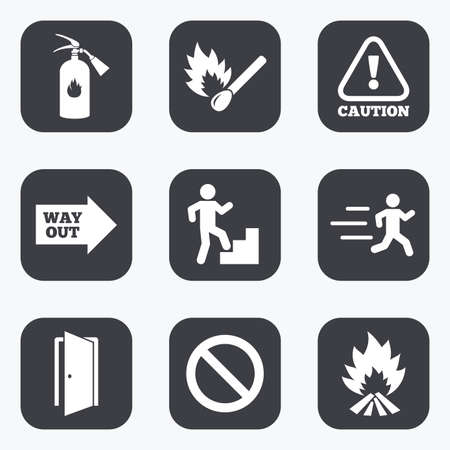burn out: Fire safety, emergency icons. Fire extinguisher, exit and attention signs. Caution, water drop and way out symbols. Flat square buttons with rounded corners. Illustration