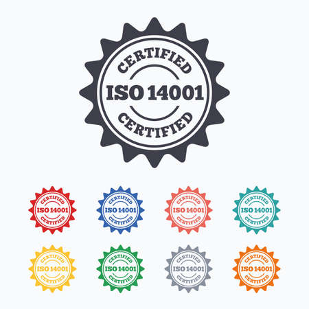 ISO 14001 certified sign icon. Certification star stamp. Colored flat icons on white background.