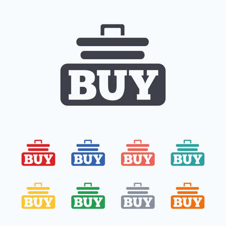 cart button: Buy sign icon. Online buying cart button. Colored flat icons on white background.