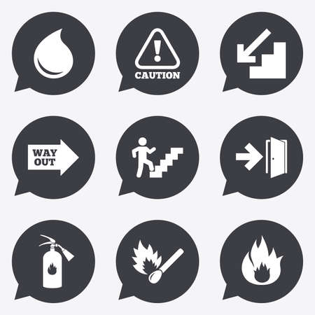 burn out: Fire safety, emergency icons. Fire extinguisher, exit and attention signs. Caution, water drop and way out symbols. Flat icons in speech bubble pointers.