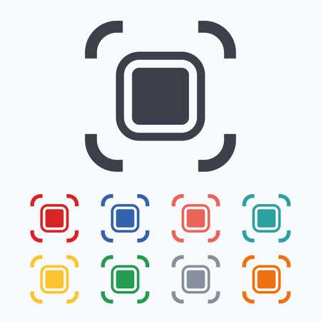 Autofocus zone sign icon. Photo camera settings. Colored flat icons on white background. Illustration