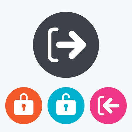 Log Out: Login and Logout icons. Sign in or Sign out symbols. Lock icon. Circle flat buttons with icon. Illustration