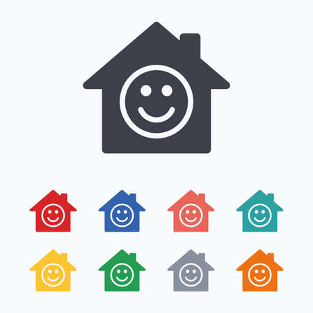 comedy background: Comedy club. Smile icon. Happy face chat symbol. Colored flat icons on white background.