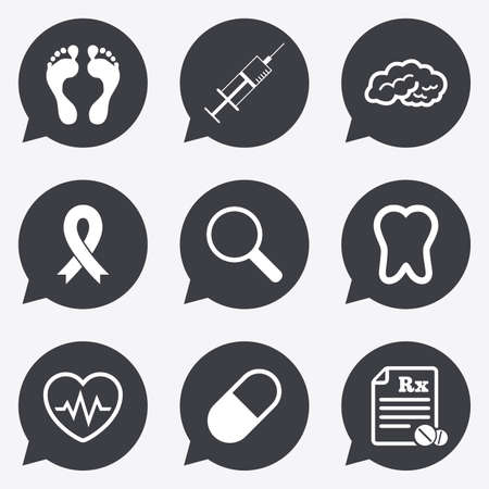 cancer foot: Medicine, medical health and diagnosis icons. Syringe injection, heartbeat and pills signs. Tooth, neurology symbols. Flat icons in speech bubble pointers.