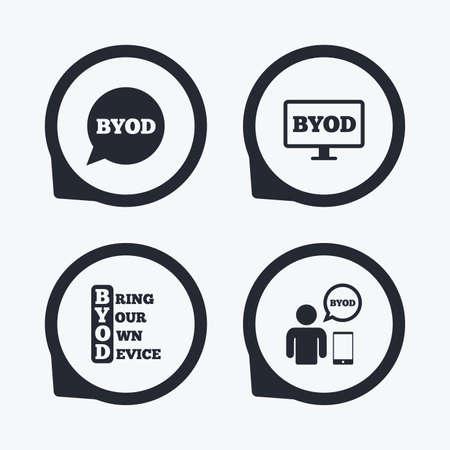 BYOD アイコン。ノート パソコンとスマート フォンの兆候と人間。音声バブルの象徴。フラット アイコン ポインター。