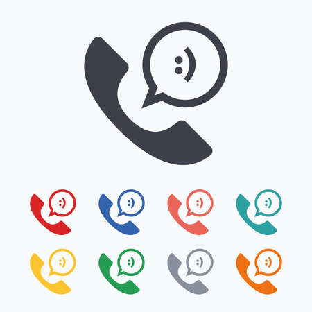 smile icon: Phone sign icon. Support symbol. Call center. Speech bubble with smile. Colored flat icons on white background. Illustration