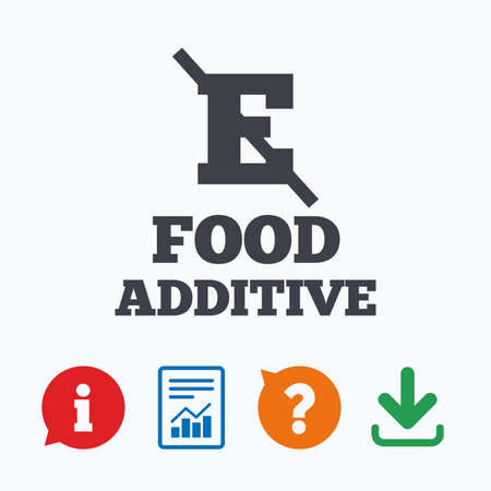 stabilizers: Food additive sign icon. Without E symbol. Healthy natural food. Information think bubble, question mark, download and report.