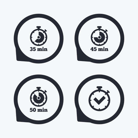 35: Timer icons. 35, 45 and 50 minutes stopwatch symbols. Check or Tick mark. Flat icon pointers. Illustration
