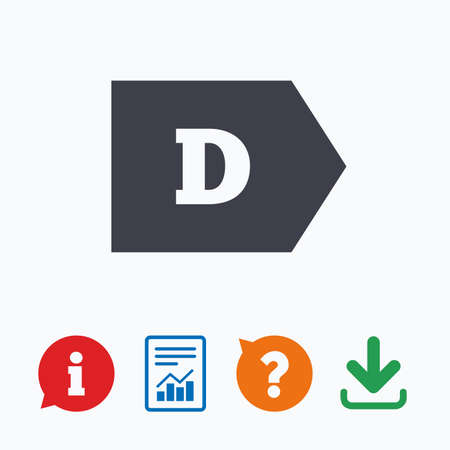 d mark: Energy efficiency class D sign icon. Energy consumption symbol. Information think bubble, question mark, download and report. Illustration