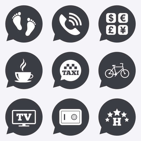 strongbox: Hotel, apartment services icons. Coffee sign. Phone call, kid-friendly and safe strongbox symbols. Flat icons in speech bubble pointers.