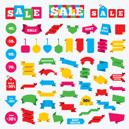40 50: Web stickers, banners and labels. Sale discount icons. Special offer price signs. 40, 50, 60 and 70 percent off reduction symbols. Price tags set.