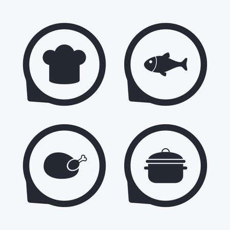 stew pan: Chief hat and cooking pan icons. Fish and chicken signs. Boil or stew food symbol. Flat icon pointers.