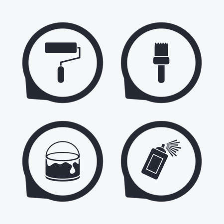 paint can: Painting roller, brush icons. Spray can and Bucket of paint signs. Wall repair tool and painting symbol. Flat icon pointers.