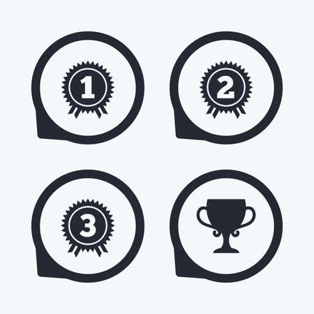 second prize: First, second and third place icons. Award medals sign symbols. Prize cup for winner. Flat icon pointers.