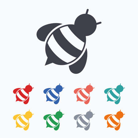 apis: Bee sign icon. Honeybee or apis with wings symbol. Flying insect diagonal. Colored flat icons on white background. Illustration