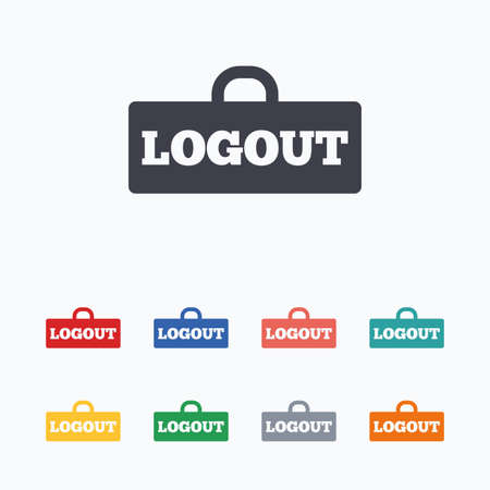 lock out: Logout sign icon. Sign out symbol. Lock icon. Colored flat icons on white background.