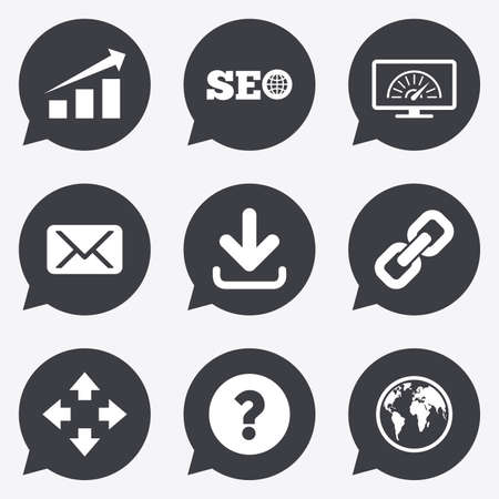 bandwidth: Internet, seo icons. Bandwidth speed, download arrow and mail signs. Hyperlink, monitoring symbols. Flat icons in speech bubble pointers. Illustration