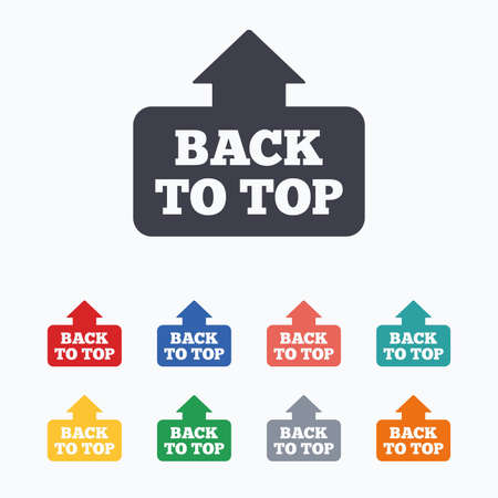 scroll up: Back to top arrow sign icon. Scroll up page symbol. Colored flat icons on white background.