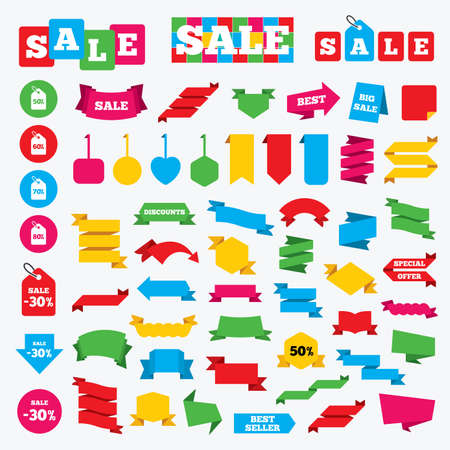 50 to 60: Web stickers, banners and labels. Sale price tag icons. Discount special offer symbols. 50%, 60%, 70% and 80% percent discount signs. Price tags set. Illustration