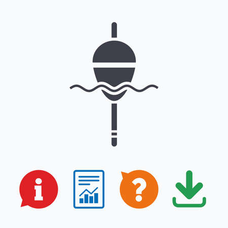 bobber: Fishing sign icon. Float bobber symbol. Fishing tackle. Information think bubble, question mark, download and report.