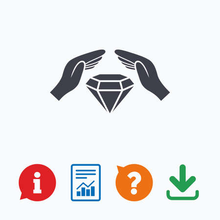 stealing data: Jewelry insurance sign icon. Hands protect cover diamonds symbol. Brilliants insurance. Information think bubble, question mark, download and report. Illustration