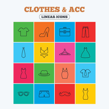woman tie: Clothes and accessories icons. Shirt with tie, pants and woman dress symbols. Hat, hanger and glasses thin outline signs. Underwear and maternity clothes. Linear icons in colored squares.