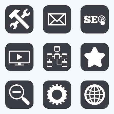 Internet, seo iconen. Reparatie, database en sterrenbeelden. Mail, instellingen en monitoring symbolen. Flat vierkante knoppen met afgeronde hoeken.