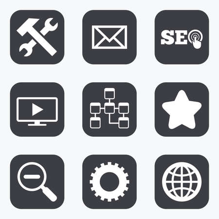 icon set: Internet, seo icons. Repair, database and star signs. Mail, settings and monitoring symbols. Flat square buttons with rounded corners.