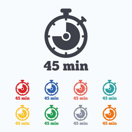 min: Timer sign icon. 45 minutes stopwatch symbol. Colored flat icons on white background.