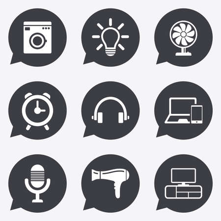 ventilator: Home appliances, device icons. Ventilator sign. Hairdryer, washing machine and lamp symbols. Flat icons in speech bubble pointers.