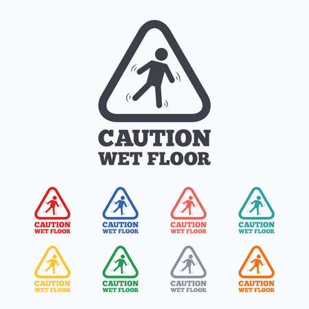 wet floor caution sign: Caution wet floor sign icon. Human falling triangle symbol. Colored flat icons on white background. Illustration