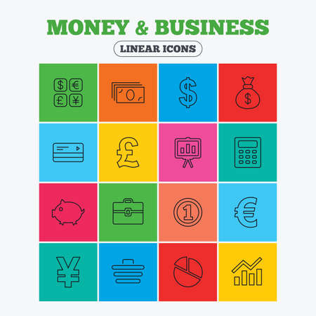 cashless: Money and business icons. Cash and cashless money. Usd, eur, gbp and jpy currency exchange. Presentation, calculator and shopping cart symbols. Linear icons in colored squares.