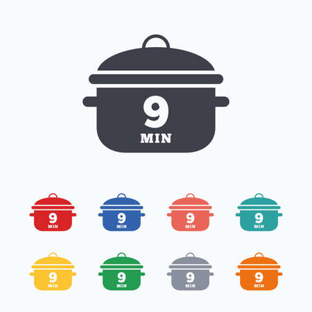 stew pan: Boil 9 minutes. Cooking pan sign icon. Stew food symbol. Colored flat icons on white background.