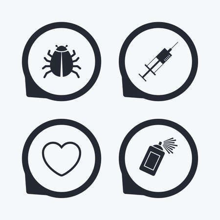 acarus: Bug and vaccine syringe injection icons. Heart and spray can sign symbols. Flat icon pointers.