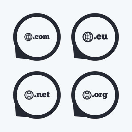 dns: Top-level internet domain icons. Com, Eu, Net and Org symbols with globe. Unique DNS names. Flat icon pointers.