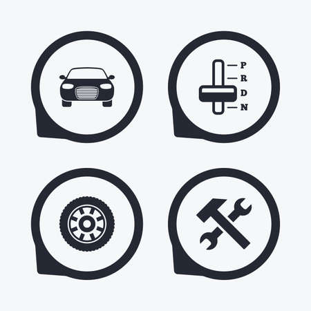 automatic transmission: Transport icons. Car tachometer and automatic transmission symbols. Repair service tool with wheel sign. Flat icon pointers.