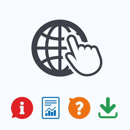 internet mark: Internet sign icon. World wide web symbol. Cursor pointer. Information think bubble, question mark, download and report. Illustration