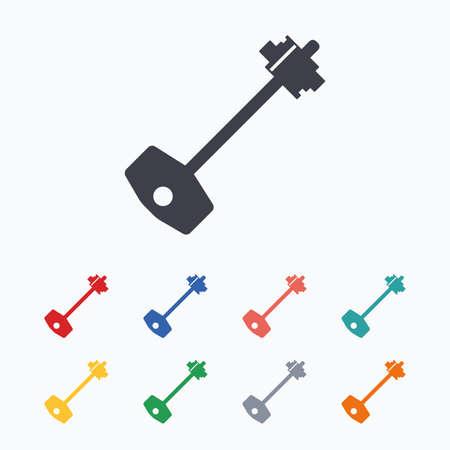 Key sign icon. Unlock tool symbol. Colored flat icons on white background.