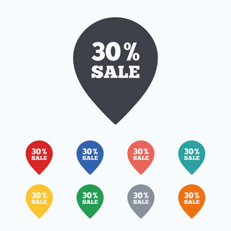 thirty percent off: 30% sale pointer tag sign icon. Discount symbol. Special offer label. Colored flat icons on white background.