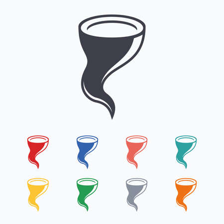 hurricane disaster: Storm sign icon. Gale hurricane symbol. Destruction and disaster from wind. Insurance symbol. Colored flat icons on white background. Illustration