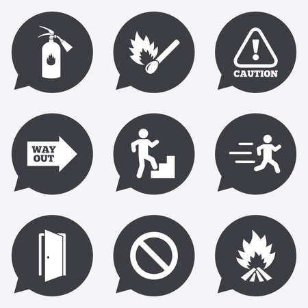 emergency attention: Fire safety, emergency icons. Fire extinguisher, exit and attention signs. Caution, water drop and way out symbols. Flat icons in speech bubble pointers.