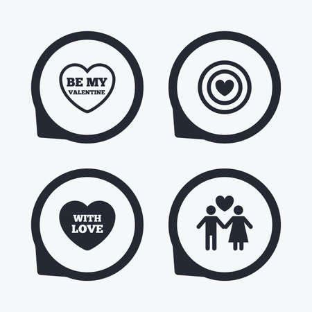 sex positions: Valentine day love icons. Target aim with heart symbol. Couple lovers sign. Flat icon pointers.