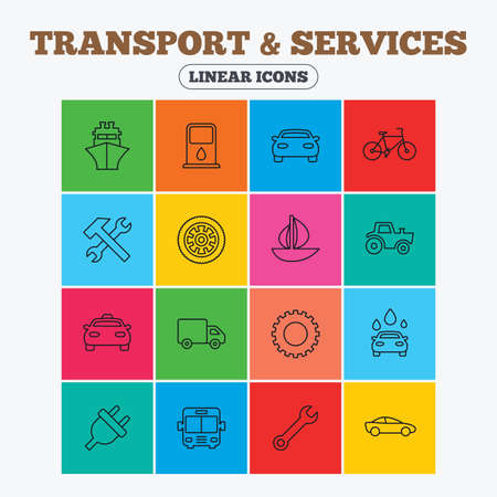 public services: Transport and services icons. Ship, car and public bus, taxi. Repair hammer and wrench key, wheel and cogwheel. Sailboat and bicycle. Linear icons in colored squares.