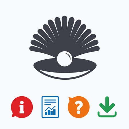 sea mark: Sea shell with pearl sign icon. Conch symbol. Travel icon. Information think bubble, question mark, download and report. Illustration