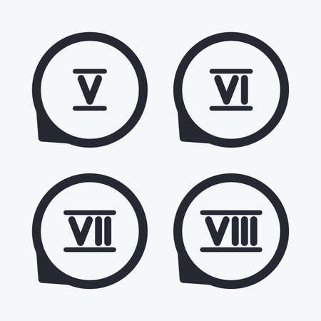 7 8: Roman numeral icons. 5, 6, 7 and 8 digit characters. Ancient Rome numeric system. Flat icon pointers.
