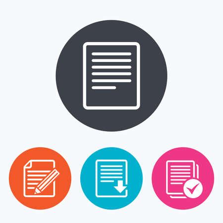 Iconos de documento de archivo. Descargar archivo de símbolo. editar contenidos con el signo de lápiz. Seleccionar archivo con casilla de verificación. Un círculo botones planos con el icono.