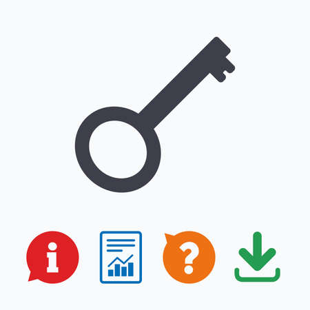 tool unlock: Key sign icon. Unlock tool symbol. Information think bubble, question mark, download and report.