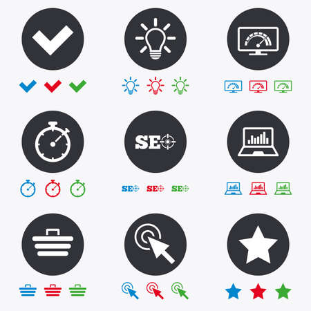 bandwidth: Internet, seo icons. Bandwidth speed, online shopping and tick signs. Favorite star, notebook chart symbols. Flat circle buttons with icons. Illustration